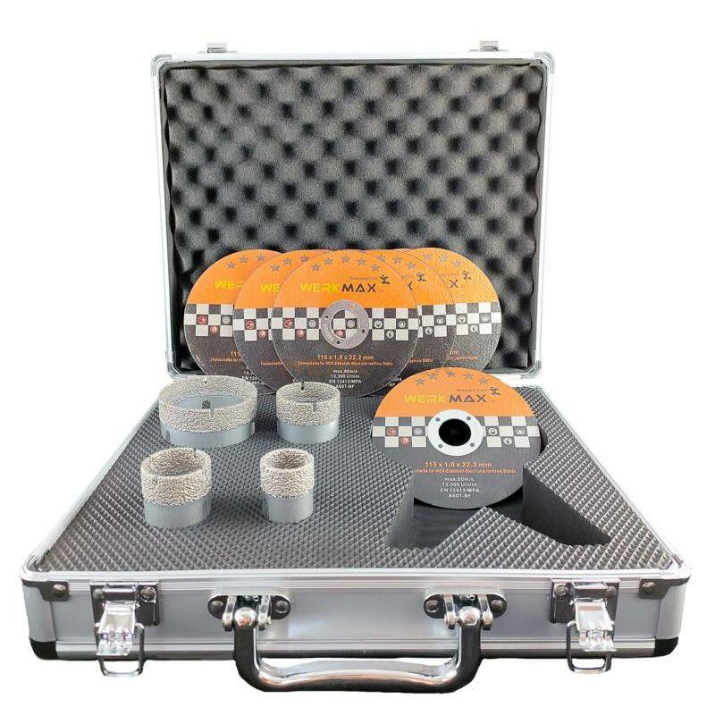 Diamantbohrkronen 5 tlg mit anbohrhilfe im koffer - Feinsteinzeug fliesen bohren ...
